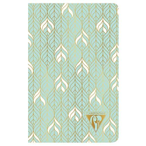 """Clairefontaine 193396C - Un carnet piqué cousu fil Neo Deco 96 pages ivoire 9x14 cm 90g lignées, couverture carte pelliculée, motif """"liane"""" vert d'eau"""