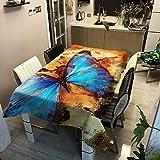 Morbuy Nappe Rectangulaire Nappe de Table Imperméable Lavable et Facile d'entretien Papillon Impression pour Ménage Table Basse Cuisine Jardin Extérieure Picnic (Orange,140x200cm)