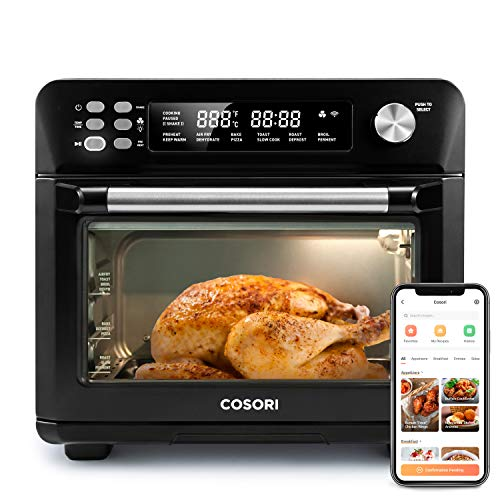 COSORI 12-in-1 Air Fryer Toaster Combo Countertop Dehydrator for Chicken, Pizza and Cookies, Recipes & Accessories Included, Work with Alexa, 25L, Smart Oven-Matte Black