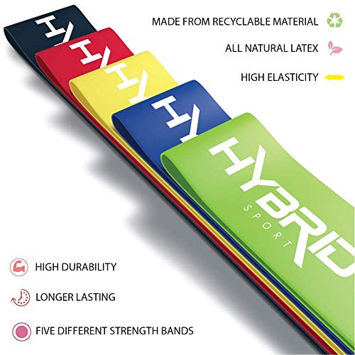 Hybrid Resistance Bands [Set of 5] PREMIUM Skin Friendly | 5 Strength Levels Loop Exercise Bands for Pilates, Training, Physio Therapy, Stretching, Home Gym | FREE Guide and Bag for Men and Women