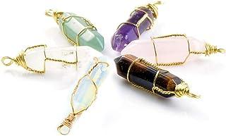 Double stone pendant with genuine Citrine stone and Matrix Opal copper wire wrapped 18 white nylon cord.