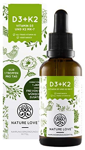 NATURE LOVE® Vitamin D3 + K2 Tropfen 50ml - Hoch bioverfügbar durch Original VitaMK7® + hoch bioverfügbares D3 (1000 IE). Jede Charge laborgeprüft, flüssig, hochdosiert, hergestellt in Deutschland