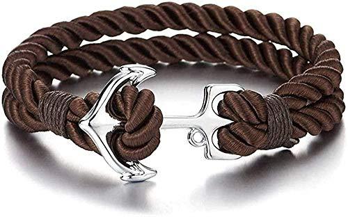 banbeitaotao Pulsera de Cuerda de algodón Trenzada marrón de Dos Filas para Hombre con Gancho de Ancla Marina (CA)
