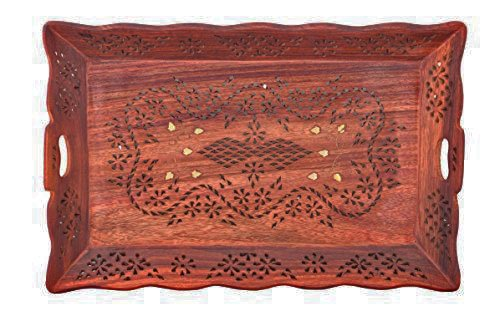 Wood Handmade Tray - Wooden Serving Tray with Brass Etchings Lotus Design, Food Trays, Kitchen Tray, Party Tray, Brown Color Size 15 X 2 Inch, Easter Day / Mother`s Day / Good Friday Present