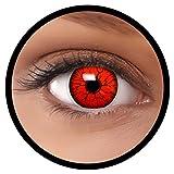 Farbige Kontaktlinsen rot Devil MIT STÄRKE | Ideal für Halloween, Karneval, Fasching oder Fastnacht | Inklusive Behälter von FXEYEZ | In verschiedenen Stärken als 2er Pack