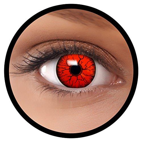 Farbige Kontaktlinsen rot Devil | Ideal für Halloween, Karneval, Fasching oder Fastnacht | Inklusive Behälter von FXEYEZ | Ohne Stärke als 2er Pack