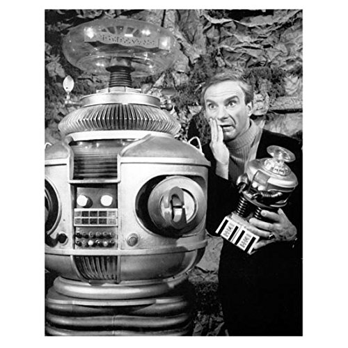 Lost in Space (1965) 8 x 10 Photo Jonathan Harris Holding Toy Robot Next to Big Robot kn