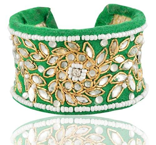 Aakarshana Jewels Indian Jewellery Hand Made Embroidered Cuff Bracelet for Women