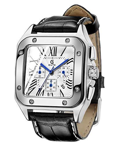 GuTe Men's Quartz Watch, Luxury Chronograph Calendar Analog Wristwatch Leather Wristband, Business Sport Roman Watch with Blue 6 Hands