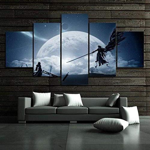 YQRX 5 Teilig Leinwand Wanddeko Gerahmte,Final Fantasy 7 - Spielen Malerei Leinwanddrucke Geschenk 5 Stück Leinwand Bilder Moderne Wandbilder XXL Wohnzimmer Wohnkultur/Weihnachten/150X80CM