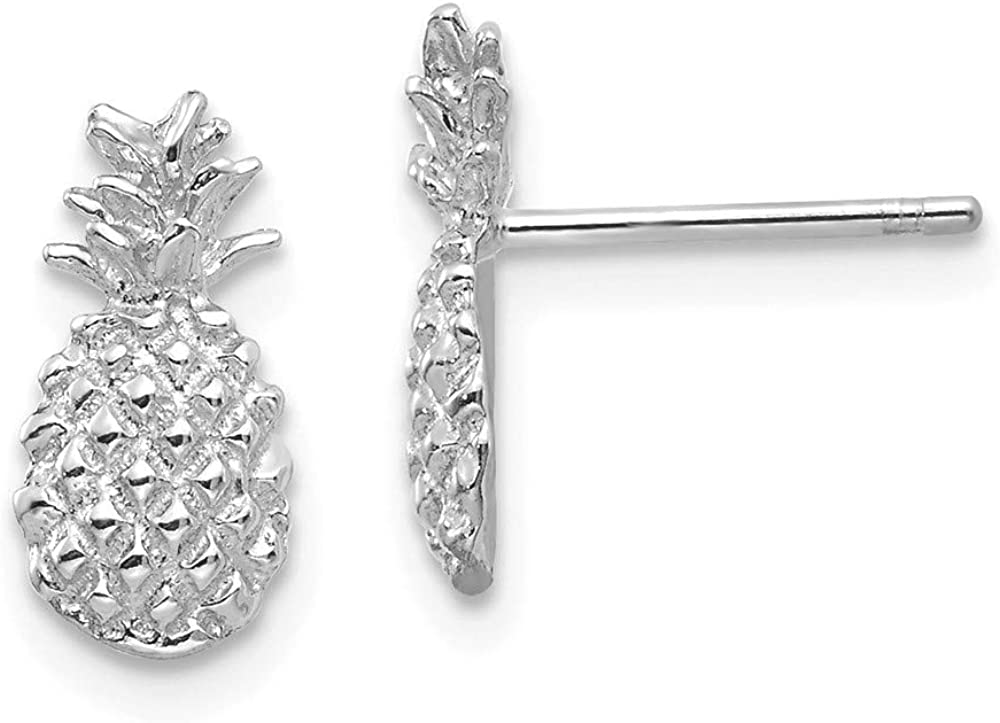 Solid 14K White Gold and Textured Pineapple Post Studs Earrings