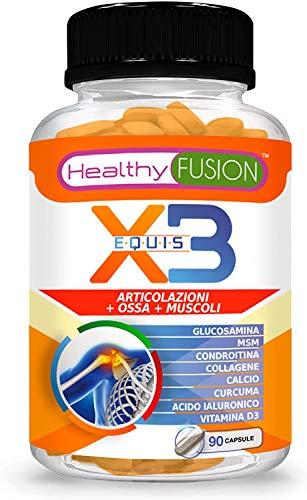 Healthy Fusion Glucosamina + Condroitina + Msm + Curcuma + Collagene Idrolizzato + Acido Ialuronico + Calcio + Vitamina D3 - 90 capsules, 77,08 grams, 1 Pezzo
