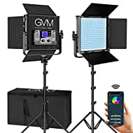 GVM RGB LED Video Lighting Kit with APP Control, 50W 360° Full Color Led Video Lights, Photography Lighting Video Light Kit with 8 Applicable Scenes, 2 Packs Led Panel Lights for Video Shooting