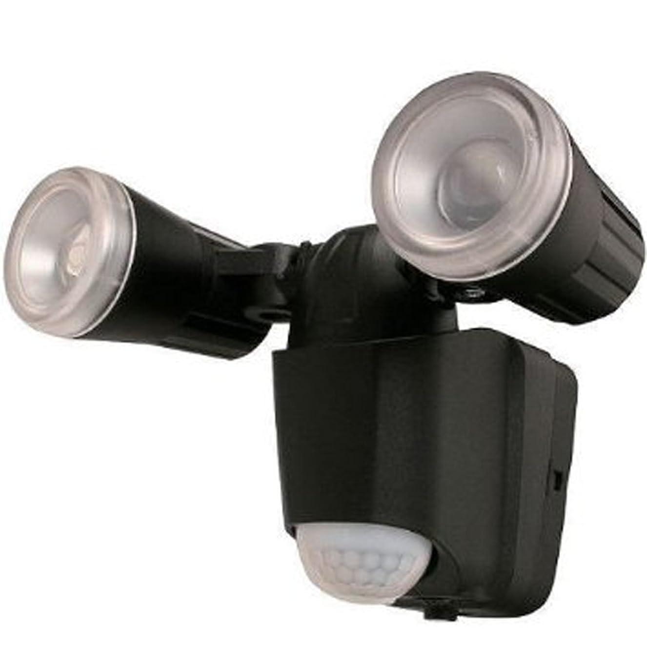 従順強制影アイリスオーヤマ センサーライト LED 乾電池式 黒 LED2個タイプ