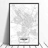 Utrecht wit Custom World City Poster leinwanddrucke Nordic