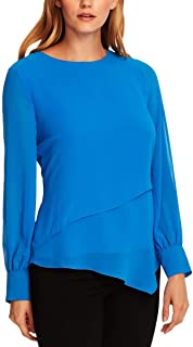 Vince Camuto Asymmetrical Double-Layer Chiffon Top Peacock XLarge