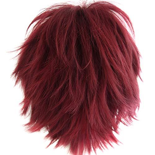 Alacos Unisex Cosplay Short Straight Hair Wig Women Men Rock Cartoon Anime Con Party Dress Wigs Dark Red Wig+ Free Wig Cap