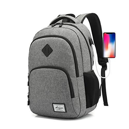 AUGUR - Zaino per computer portatile da viaggio per donne e uomini, impermeabile, leggero, per scuola universitaria, con porta di ricarica USB, compatibile con notebook da 15,6', colore: Nero