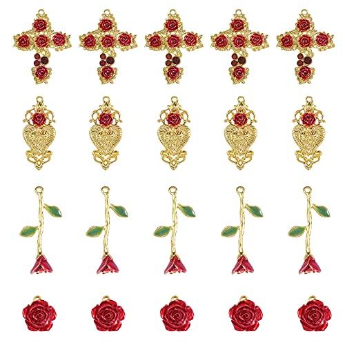 Ornaland 20 Uds, Colgantes de Flores Rosas, Joyería de Flores con Dijes de Aleación para Mujeres, Fabricación Y Elaboración de Collares DIY