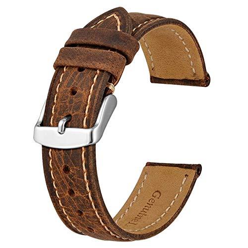 BISONSTRAP Correa de Reloj 18mm, Correa Piel de Cuero Vintage, Marrón/Hilo Beige