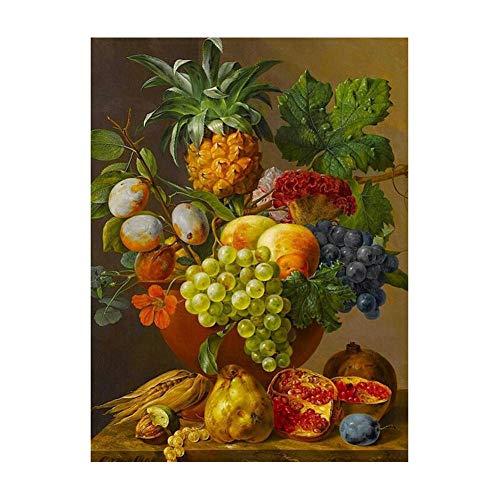 sesemao Reproducciones de pintura al óleo, murales abstractos de color, pinturas colgantes, lienzo impermeable, jarrón de frutas enmarcado_40 x 50 cm