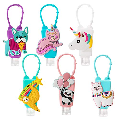 Cartoon Kid Hand Sanitizer Holders,6Pcs Silicone Sanitizer Keychain Carriers for Backpack,Cute Animal Pocket Hand Cleaner Containers,1oz Empty Travel Size Bottle Holders,Refillable for Liquid Soap