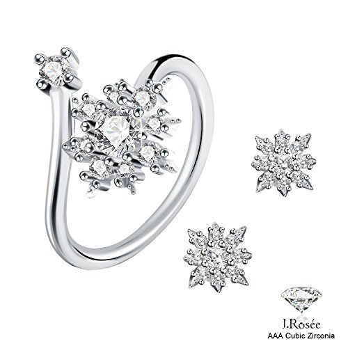 J.Rosée Ring and Earrings Set, 925 Sterling Silver Fine Jewelry for Women Adjustable Ring and Flower Earring