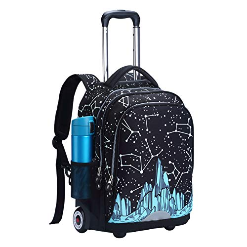 LHY EQUIPMENT Lightweight Wheeled Laptop Backpack with Aluminum Rod Silent Wheel Waterproof Wheeled Rucksack Large Capacity Rolling Trolley Bag,E