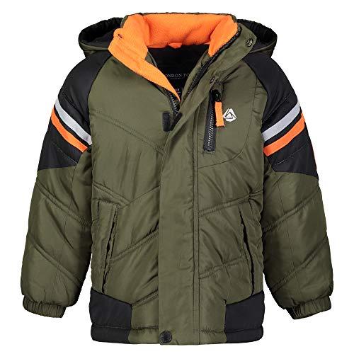 London Fog Boys' Big Active Puffer Jacket Winter Coat, Olive Drab and Solid Black, 8