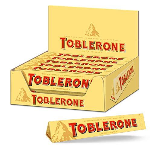 Toblerone Schokolade 20 x 100g, Feine Schweizer Milchschokolade mit Honig- und Mandelnougat