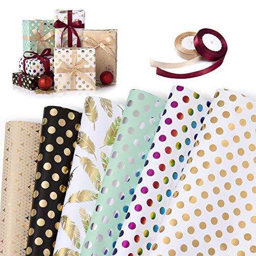 Fogli di Carta da Regalo, XiYee 6 Pezzi Fogli Carta Regalo con 2 Rotoli di Nastro Regalo, Metallic Gold Tissue Gift Wrap Paper, Carta da Pacchi per Compleanno, Natale, Anniversari