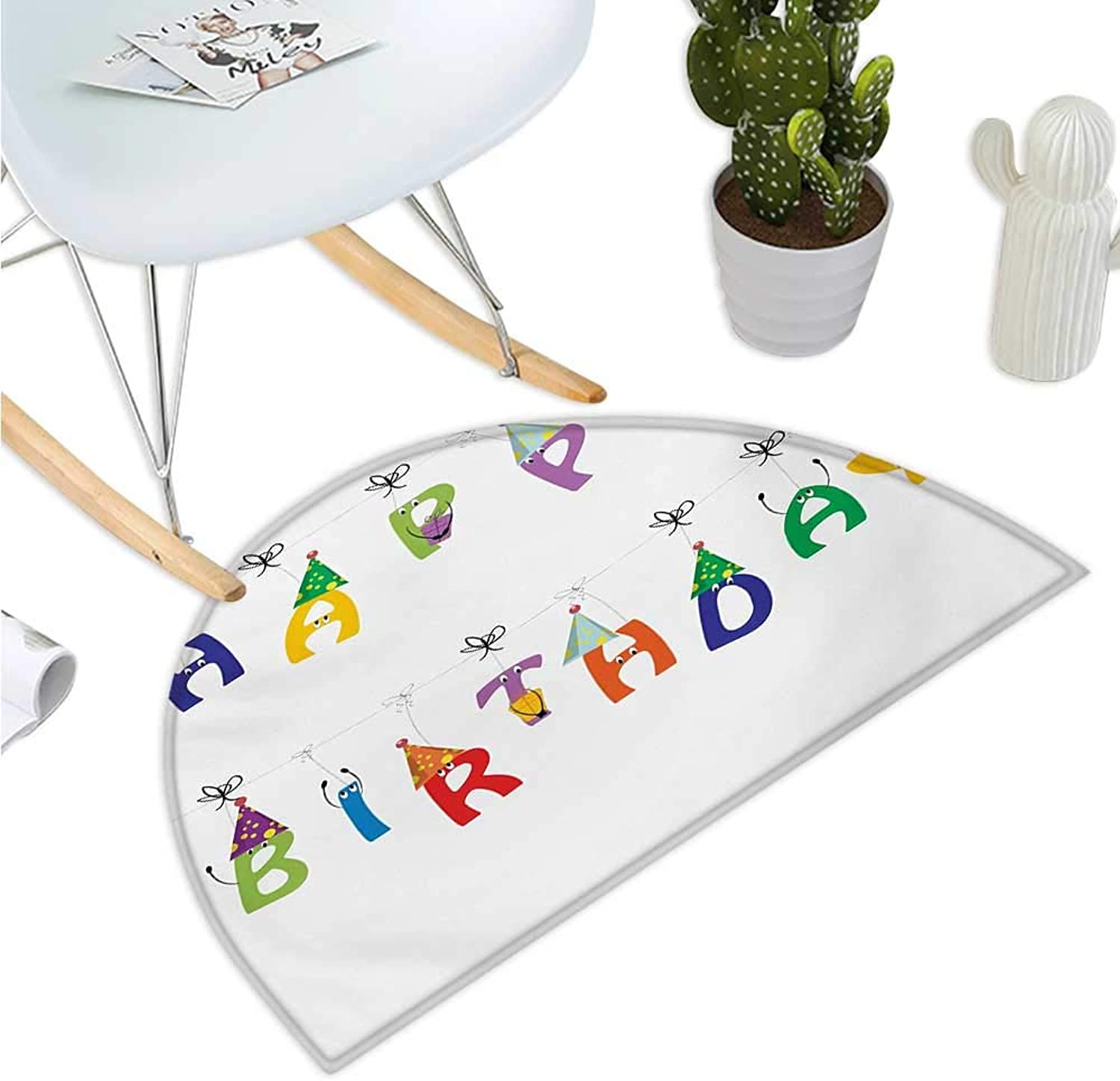 Birthday Half Round Door mats Celebration Cute colorful Letters on Ropes Funny Faces Pointy Party Hats for Kids Entry Door Mat H 35.4  xD 53.1  Multicolor