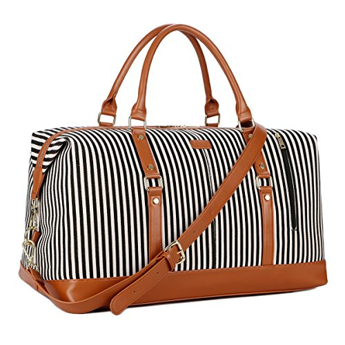 BAOSHA HB-14 Oversized Canvas Travel Tote Duffel Bag Carry on Weekender Overnight Bag for Women and Ladies (Black Strip)