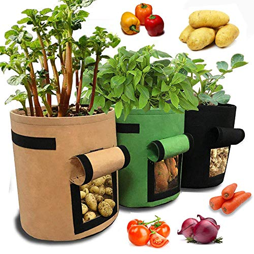 Schneespitze 3Pcs 5 Gallons Potato Growing Bags,Soft Sided Nonwoven Fabric Vegetable Grow Bag,Breathable Garden Vegetable Planter Container