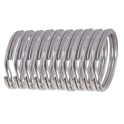iBasingo 5/10/20 unidades de llaveros de titanio, anillos divididos, tarjeta de llaves, resistente, redondos, 16,8 mm, para cubiertos, silbato, brújula, coche, hogar, llaves artesanales