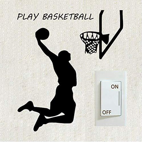YUTAO Wall Sticker 2 Stücke Basketball-Spieler Slamdunk Sport Schalter Aufkleber Kreative Wandbilder Gym Wandaufkleber Für Kinderzimmer
