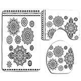 Símbolo del cosmos oriental con líneas de encaje ornamentales y flores de loto Zen Yoga Imagen Juego de alfombras de baño de 3 piezas Alfombrilla de baño antideslizante Alfombra de contorno Tapa de la