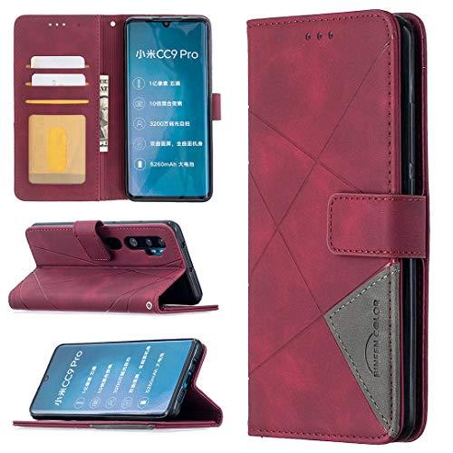 GUOQING Funda de teléfono para Xiaomi Note10 Pro, multifuncional, funda de piel sintética de alta calidad, soporte para tarjeta de crédito, función atril, plegable, color rojo