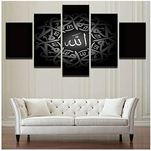 Frame Wall Art Home Decoratie Posters 5 Panel Zwart Islamitische Citaat Letters Woonkamer HD Gedrukte Afbeeldingen Moderne Schilderij 30 x 40 x 60 x 80 cm.