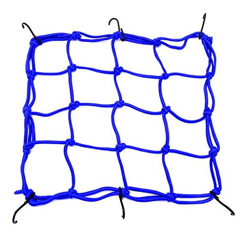Mantain 12 inch Blue Rack Storage Net Cargo Net 4 X 4 Mesh Cord 6 Adjustable Hooks for Bike Bicycle