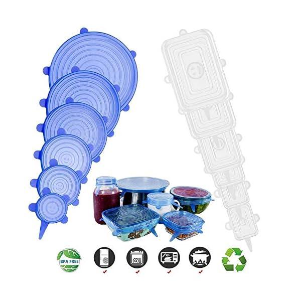 CJCX Coperchi in Silicone, 12 Pezzi Coperchi in Silicone Estensibile Stretch per Alimenti, Riutilizzabile e Duraturo, Rettangolari & Rotondi per Vari Contenitori, Piatti, Scodelle, Tazza (Bianco+Blu) 3 spesavip