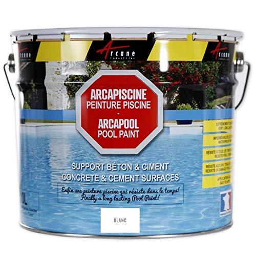 ARCAPISCINE: pintura para piscina, protección y decoración, soporte de hormigón o cemento, puesta en obra fácil, color azul, blanco o gris, blanco