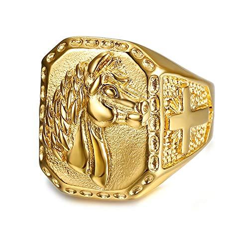 BOBIJOO JEWELRY - Gran Anillo de sellar el Hombre de la Cabeza de Caballo de Acero Inoxidable Chapado en Oro de la Cruz Viajero - 24 (11 US), Dorado - Acero Inoxidable 316