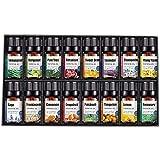 YuKeShop Lot de 16 huiles essentielles d'aromathérapie de qualité supérieure pour diffuseur d'huiles essentielles 100 % pures solubles dans l'eau