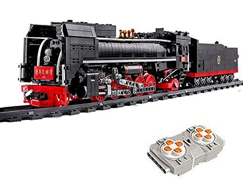 Mattoncini da costruzione con treno, con telecomando, telecomando e accessori per binari