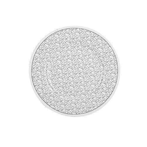 Krasilnikoff - Teller, Kuchenteller - Heart Jumble - weiß, grau - Porzellan - Ø20,5 cm