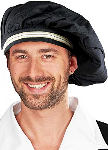 Barett Hut zum Mittelalter Kostüm - Schwarzer Hut für Damen und Herren