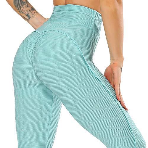 B/H Leggings Push Up Mujer,Mujeres Fitness Leggings Deportivos Pantalones para Correr para Mujer Pantalones de Yoga de Cintura Alta-Sky-Blue_S