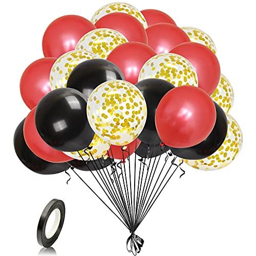 Unisun Globos rojos negros de 30 cm con confeti dorado con cinta, 30 globos de látex natural para decoraciones de cumpleaños, bodas, baby shower, aniversarios, celebraciones suministros de fie