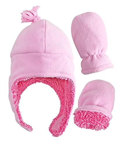Product Image of the N'Ice Caps Girls Soft Sherpa Lined Micro Fleece Pilot Hat and Mitten Set (6-18...